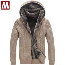 Kış sıcak kalın erkek kazak rahat/taklit kürk astarlı örme kazak ceket erkekler tasarımcı kapüşonlu hırka büyük boy 5XL d447(China (Mainland))