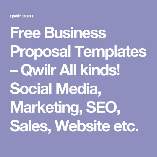 Free Business Proposal Templates u2013 Qwilr All kinds! Social Media - proposal templates