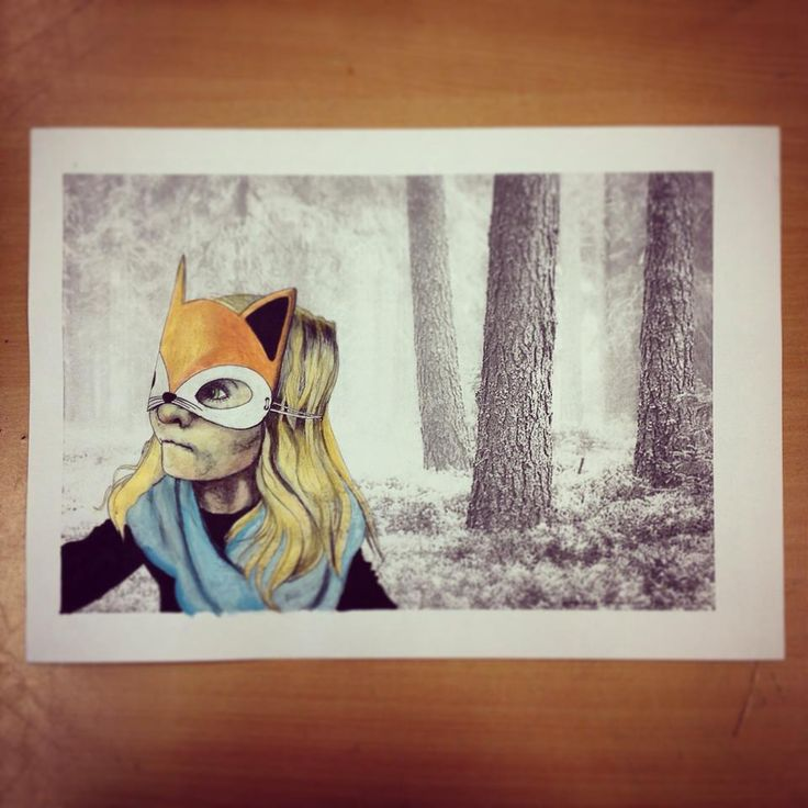 Fox Mask Girl Watercolour Photo Mixed Nursery Young Girl Boy´s Room Buy your A3 quality print from my etsyshop. Use link: https://www.etsy.com/no-en/shop/Rampestreken Or visit me at https://www.facebook.com/Rampestreken and order through inbox. Painting, drawing and photgraph by Ragnhild Marie Aston Hoddevik. Feel free to make requests, I also make orders:)