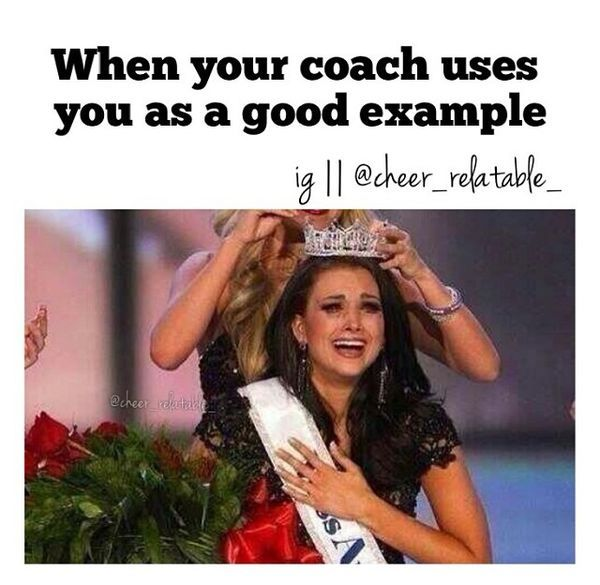 When your coach uses you as a good example...