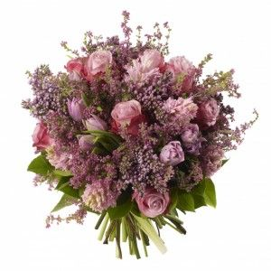 Lilac Bouquet - Lilac, Deep Water Roses, Pink Tulips and Pink Hyacinths.