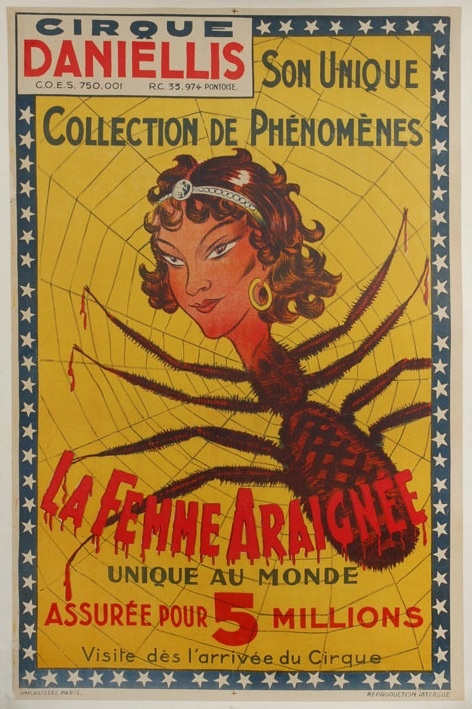 French Carnival Circus Side Show Poster For The Spiderwoman C 1930s