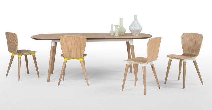 Edelweiss, une table à rallonges, frêne et jaune | made.com