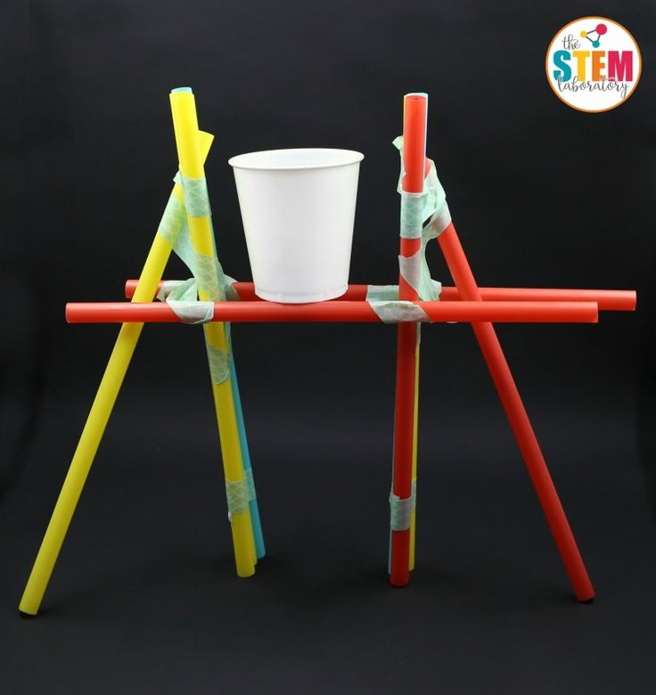 Build a straw bridge that will support a cup of pennies or blocks, water, etc. #STEM