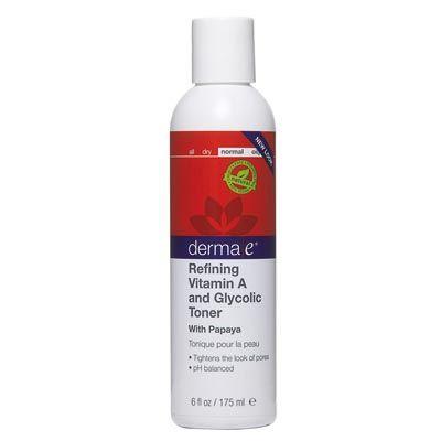Derma E Refining Vitamin A & Glycolic Toner 175ml  Vitamin A ve Deniz Bitkileri Ekstreleriyle zenginleştirilmiş, Ph dengeli tonik; temizileyiciden kalanları ve cildinizde ki kirlerin izini kaldırır. Cildinizi dengeler ve porların görünümü azaltır. Paraben, parfüm, mineral yağlar, renklendirici İÇERMEZ.