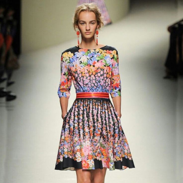 Summer Dress 2015 New Arrival Fashion Runway Brand Women's Half Sleeve Colorful Print Flowers Rainbow Dresses-in Dresses from Women's Clothing & Accessories on Aliexpress.com | Alibaba Group