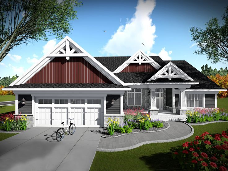 020h 0468 1 Story Empty Nester House Plan 2224 Sf Craftsman House Plans Craftsman Style House Plans Ranch Style House Plans