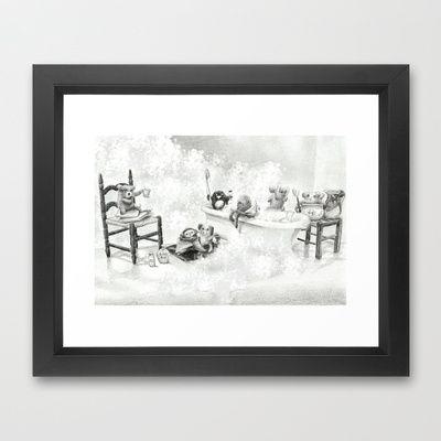 Critter Bath Framed Art Print by Alexandria Gold - $33.00