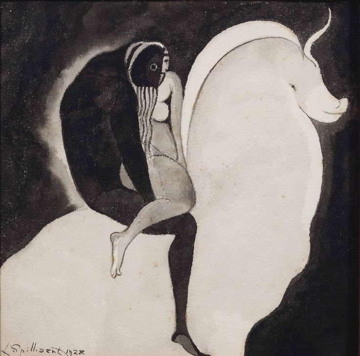 Léon Spilliaert (Belgian, 1881-1946), The abduction of Europa, 1928. Ink on paper, 28 x 28 cm.