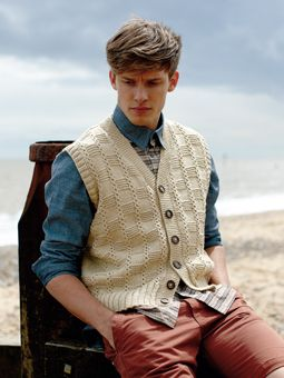 Knit this mens textured waistcoat from the Softknit Collection, a design by Martin Storey using Softknit Cotton, a wonderful cotton drape yarn (cotton and polyamide). With v neck and stocking and garter stitch detail, this knitting pattern is suitable for the average knitter.