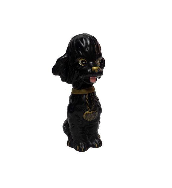 Vintage hond Bank  Vintage keramische zwarte door AGoGoVintage