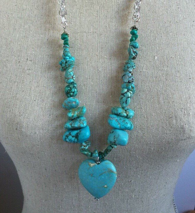 Rough buffalo turquoise long necklace with focal heart bead, stone necklace, double link aluminum chain, turquoise, statement piece by CovetByTannis on Etsy https://www.etsy.com/listing/270445041/rough-buffalo-turquoise-long-necklace