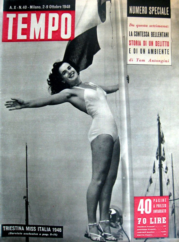 """Fulvia Franco. Cover of weekly newsmagazine """"Tempo"""": """"Miss Italia 1948 is from Trieste"""" (2 October 1948)."""
