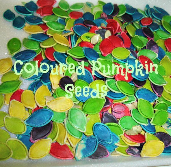 Colored Pumpkin Seeds. Vinegar and food coloring; leave seeds in coloring & vinegar for at least 24 hours. Good for crafts or sensory table.