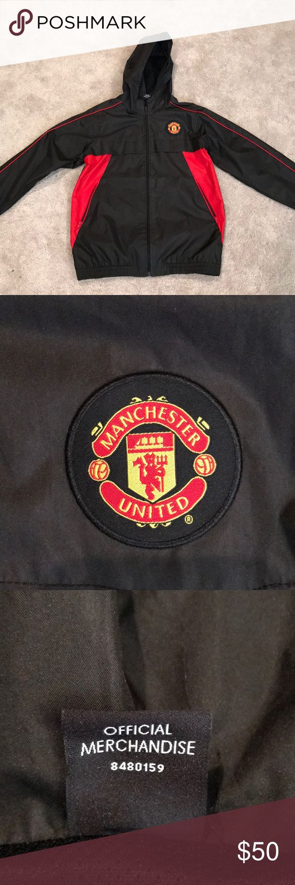 Worn once, Manchester United kids jacket Purchase in Manchester, England at a Manchester United soccer game. Authentic kids jacket with Man United crest. Only worn once so in excellent condition. Perfect for a soccer ⚽️ lover!! Kids size XL  Has two front zip pockets. Raincoat/ windbreaker  fabric Jackets & Coats