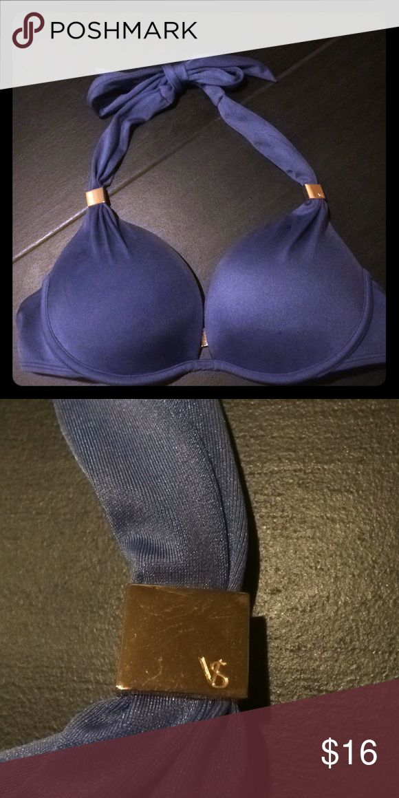VICTORIAS SECRET BIKINI TOP Baby Boy Blue Bikini Top w neck tie and back clasp. In GUC. Has nearly unnoticeable sunscreen stain that is so subtle to the eye it's impossible to picture or notice. Victoria's Secret Swim Bikinis