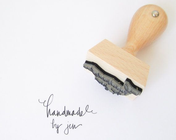 """Custom Rubber Stamp - Personalized Handmade By You laser cut 1 1/2"""" rubber stamp with hand lettering - L0028"""