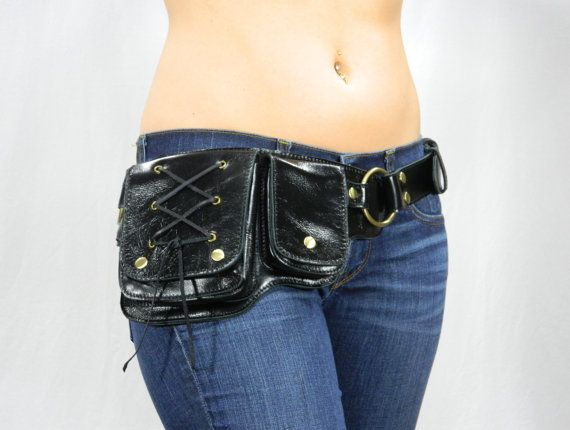 Hip Pack Lace Design Leather Utility Belt - Black (Great Festival Belt. Great storage. Large enough to store ANY phone on the market)