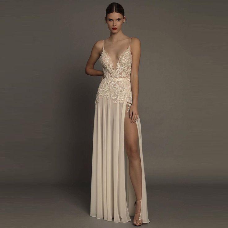 Robe De Soiree Courte 2017 Long Evening Dresses V-Neck Evening gown with Slit Sexy Party Dress Vestido de Fiesta Largos BT10