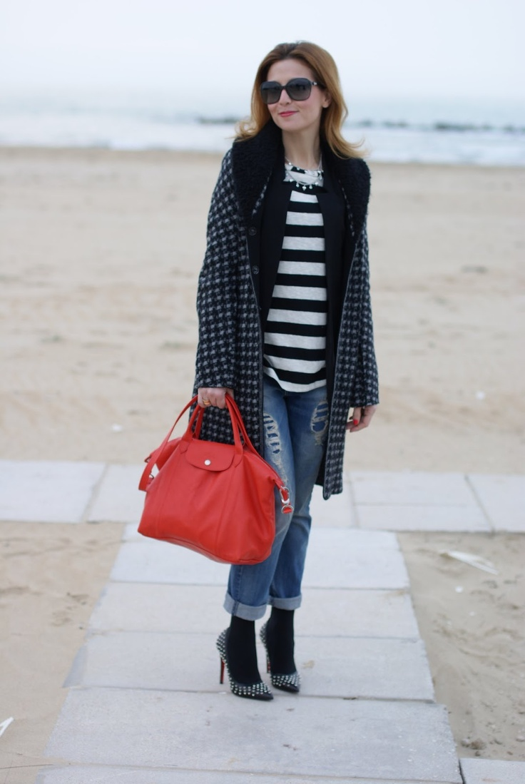 Longchamp Le Pliage cuir, Fashion and Cookies, striped top | good bag | Pinterest