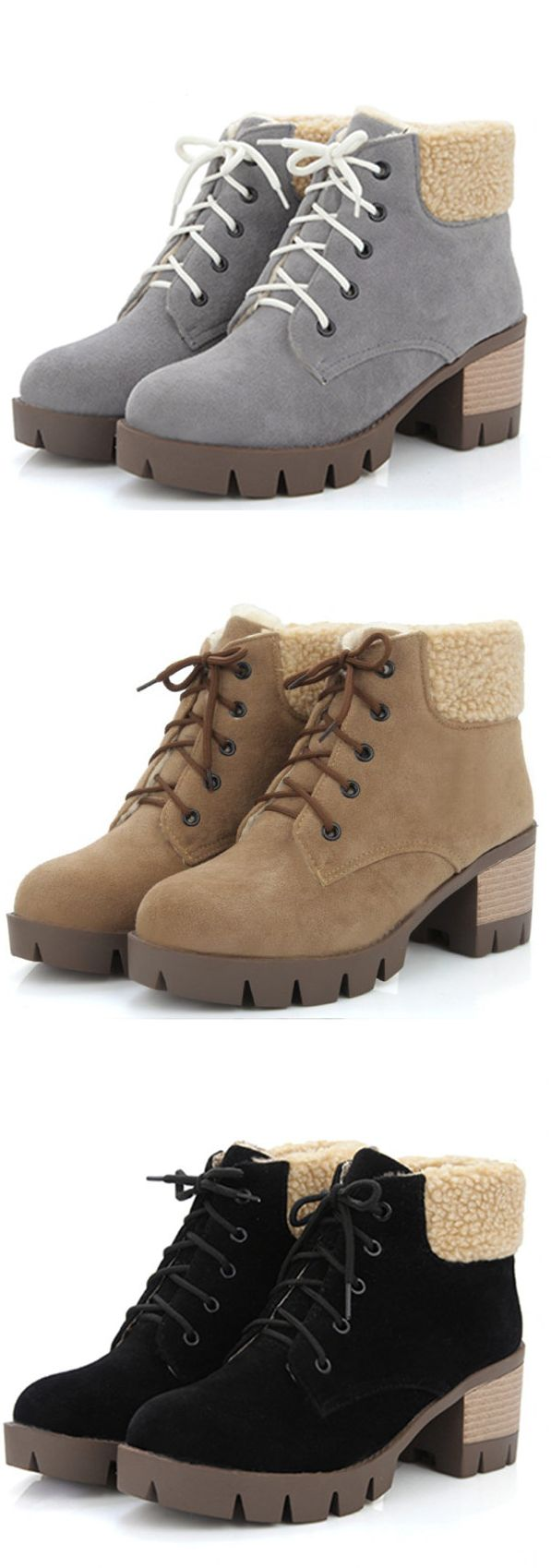 US$27.10 Pure Colour Comfortable Lace Up Warm Thick Lining Plaform Boots For Women
