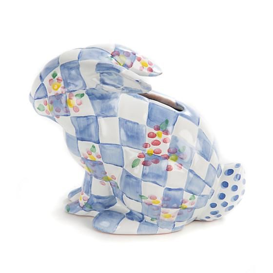 """Quilted Bunny Bank - Blue 