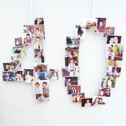 Make a lovely talking point for a birthday party by displaying an age made up of photos from all ages.