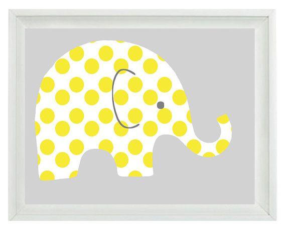 Elephant Nursery Wall Art Print - Yellow Gray Decor Polka Dots Children Kid Baby Room - Wall Art Home Decor 8x10 Print