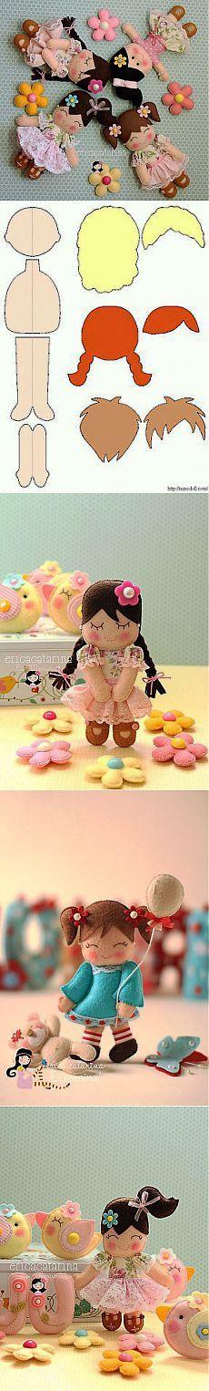 Шьём милых куколок из фетра. lovely felt doll patterns