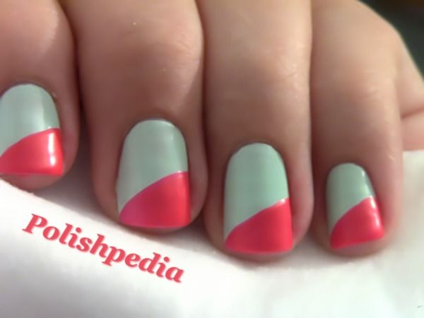 French TIps With a Slant: Teal Coral Nails, Pink Coral Nails, Nails Art, Nails Design, Diagon Nails, Pink Nails, Diagon French, French Tips Nails, Slanted Nails