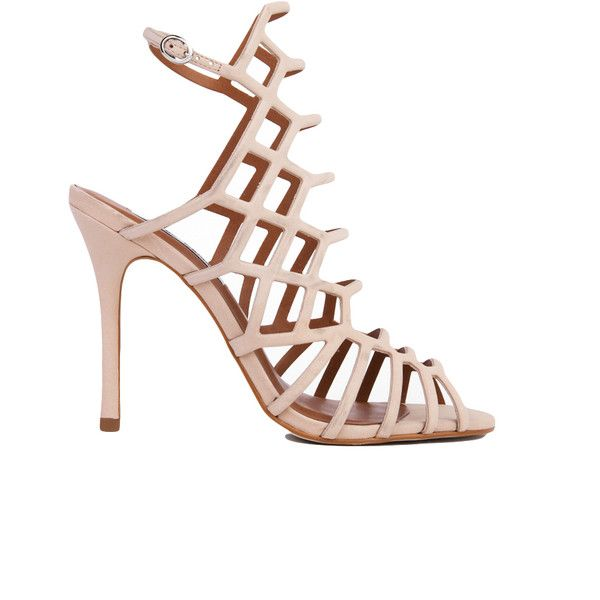Steve Madden Slithur Caged Heeled Sandals - Blush Nubuck (1.035 ARS) ❤ liked on Polyvore featuring shoes, sandals, blush nubuck, heeled sandals, steve-madden shoes, caged heel sandals, open toe high heel shoes and nubuck sandals
