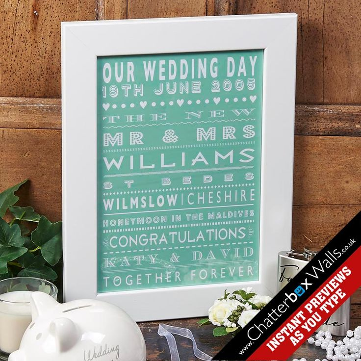 personalised wedding date gift framed in white wood