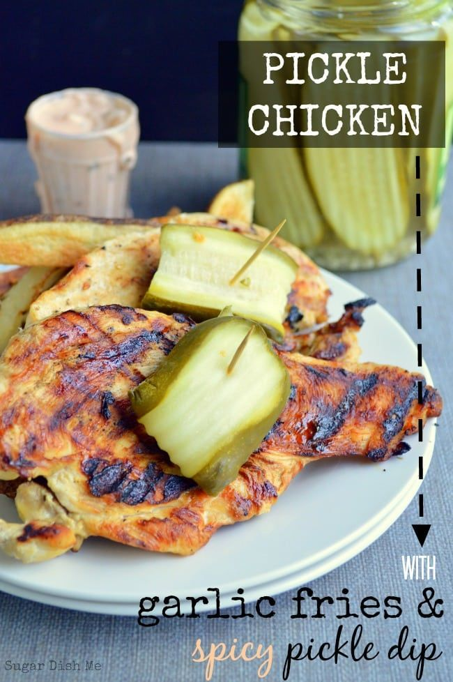 Chicken brined in dill pickle juice and then grilled to tender perfection. Pickle Chicken is served with baked garlic fries and a creamy spicy pickle dip!
