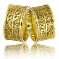 Verighete din aur galben cu motive traditionale romanesti Cojocarita