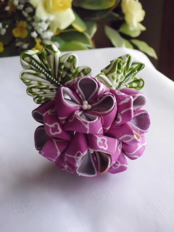 Lilac Lavender Hydrangea Tsumami Kanzashi Adapted by JagataraArt,