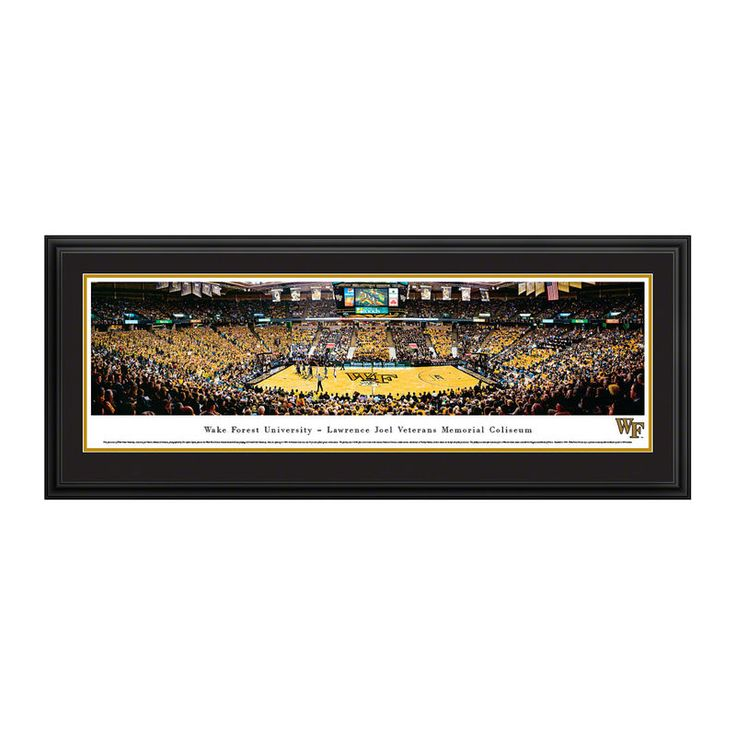 """Wake Forest Demon Deacons 18"""" x 44"""" Basketball Deluxe Framed Panoramic Wall Art"""