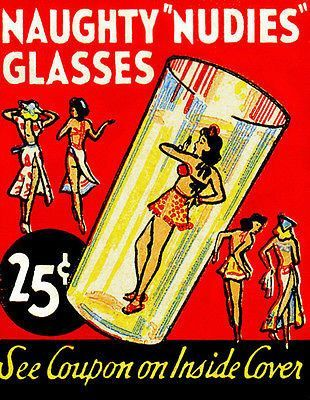 1940's - Naughty Nudies Glasses - Matchbook Advertising Poster