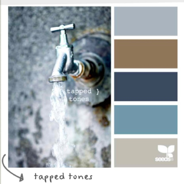 Color Schemes Taupe Orange Ivory: LOVE.... Grayish Blue, Tanish Brown, Blues & Taupe
