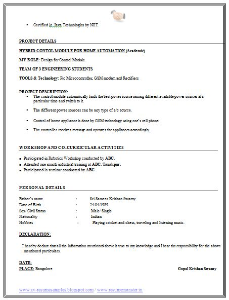 Professional Free Resume Sample of a Fresher Engineer with Free Download