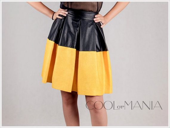 Silk and Faux Leather Skirt   Color Yellow and by COOLorMANIA