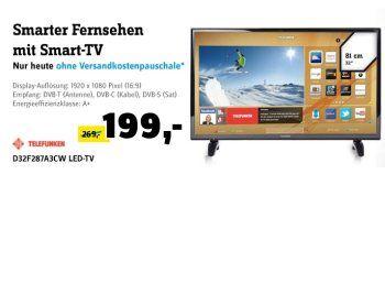 Conrad: Smart-TV Telefunken D32F287A3CW für 199 Euro frei Haus http://www.discountfan.de/artikel/technik_und_haushalt/conrad-smart-tv-telefunken-d32f287a3cw-fuer-199-euro-frei-haus.php In anderen Online-Shops kostet er mindestens 269 Euro plus Versand, bei Conrad ist er jetzt für 199 Euro frei Haus zu haben: Der Smart-TV Telefunken D32F287A3CW mit Triple-Tuner, WLAN und CI+. Conrad: Smart-TV Telefunken D32F287A3CW für 199 Euro frei Haus (Bild: Conrad.de) Der Telefunken D