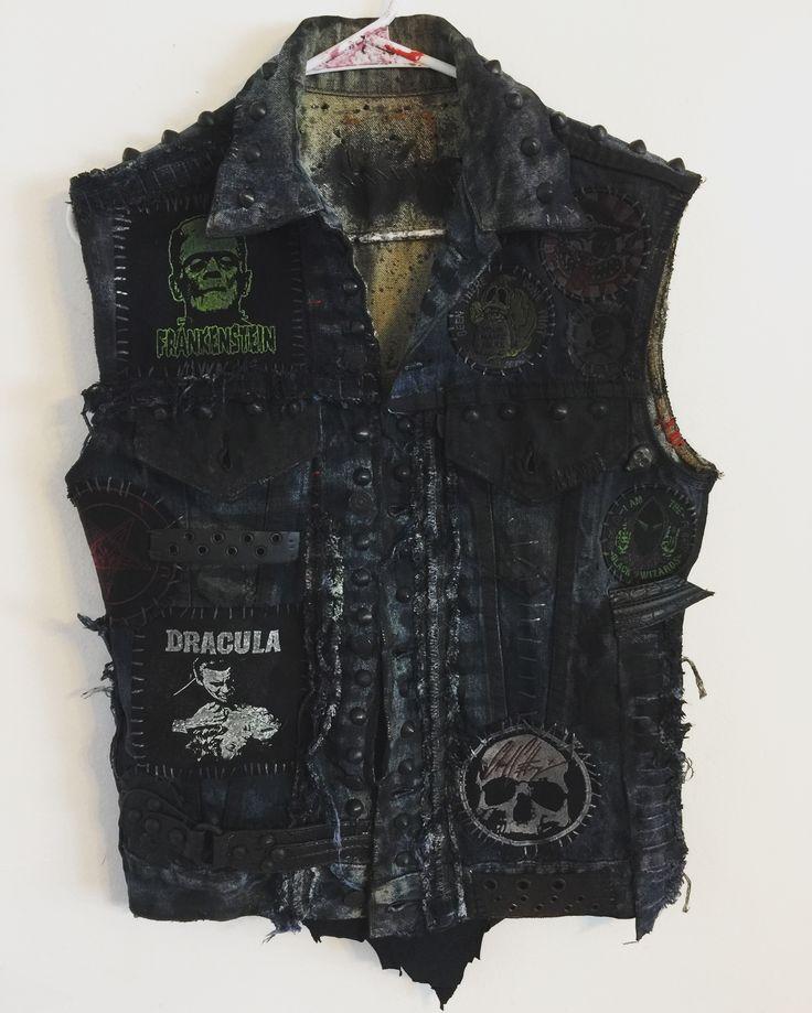 Distressed vest from Chad Cherry Clothing. Punk Rock vest. Heavy Metal vest. Studded vest. Embroidery patch vest.