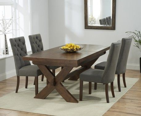 Buy the Bordeaux 200cm Dark Solid Oak Extending Dining Table with Anais Chairs at Oak Furniture Superstore