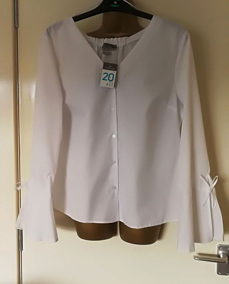 White Smart Office Work V Neck Shirt Top Blouse Bow Bell Sleeve Primark 18 20 #Primark #Blouse #Business #bellsleeve #bowtie