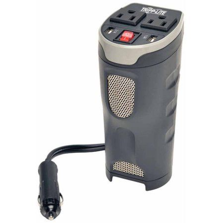 Tripp Lite 200W PowerVerter Ultra-Compact Car Inverter with 2 Outlets and 2 USB Charging Ports, Cup Holder Design
