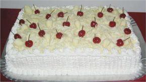 Bolo Floresta Branca, aquele bolo que é de massa branca, com recheio de chocolate branco e leite ninho e cobertura de chantilly e chocolate branco, ou seja