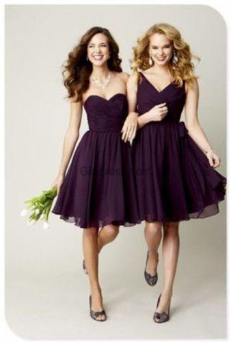 Bridesmaids Dress Purple /Plum Chiffon Knee Wedding Party Evening Gown Short Bridesmaids Dress on Etsy, £54.94