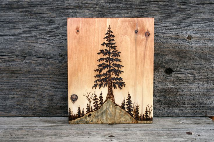 Tree At Sunset Wood burning Art Tree by TwigsandBlossoms on Etsy