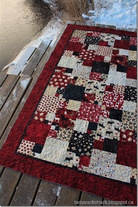 This is Eileen's Quarter Sections quilt and she used the Stonehenge Oh Canada fabric collection. This is one of my favorite versions of this pattern and I made one without borders which I shared he
