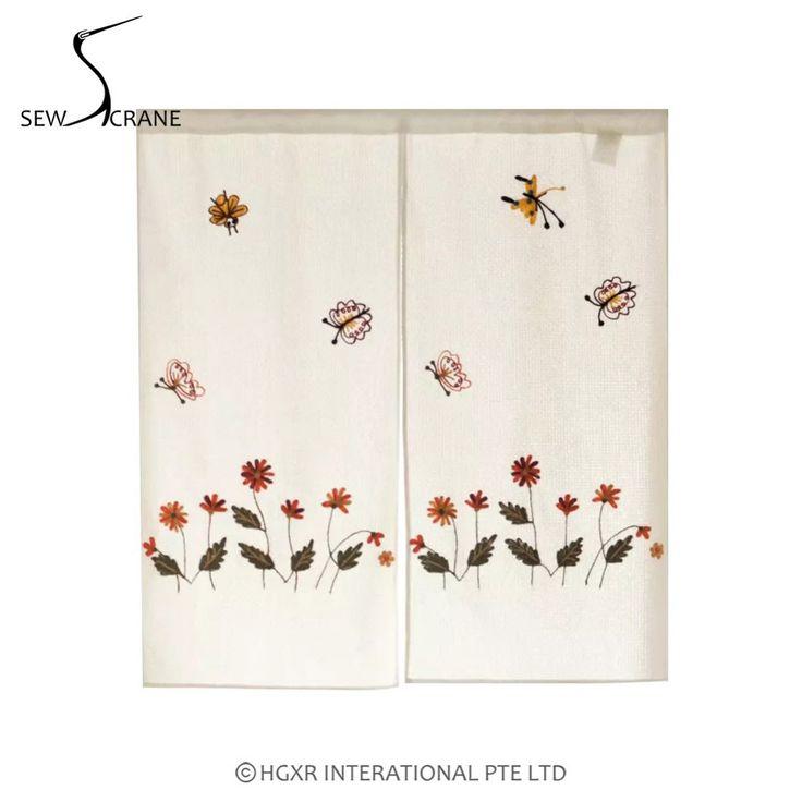 SewCrane Little Bee Flower Honeycomb Fabric Curtain Embroidery Design Home Restaurant Door Curtain Japanese Noren Curtain